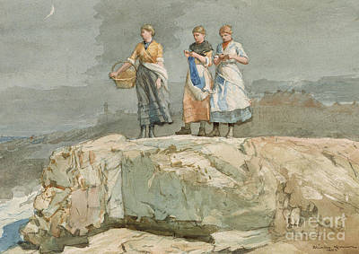 Woman Fishing Painting - The Cliffs by Winslow Homer