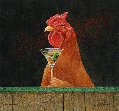 Roosters Painting - The Cocktail... by Will Bullas