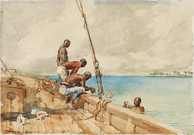 Winslow Homer Drawing - The Conch Divers by Winslow Homer