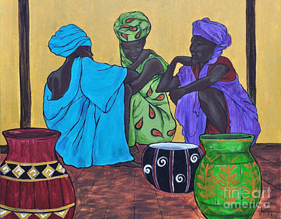 Squat Painting - The Conversation by Joyce Hayes