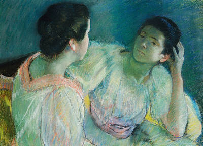 Conversing Painting - The Conversation by Mary Stevenson Cassatt