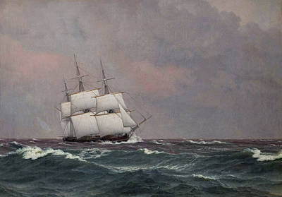 Painting - The Corvette Najaden In Rough Seas by Christoffer Wilhelm Eckersberg