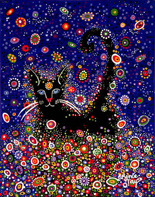 Cosmic Space Painting - The Cosmic Cat by Renee Tay