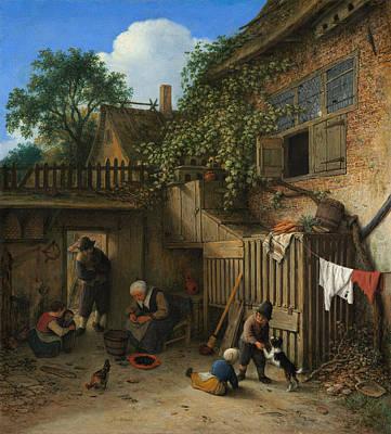 House Painting - The Cottage Dooryard by Adriaen van Ostade