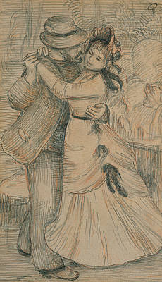 Liaison Drawing - The Country Dance by Pierre Auguste Renoir