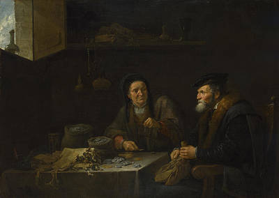 Digital Art - The Covetous Man by David Teniers the Younger