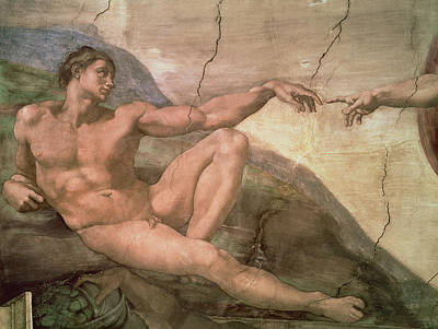 Creationism Painting - The Creation Of Adam by Michelangelo Buonarroti