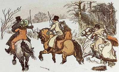 The Curmudgeons Christmas  Horse Riding Art Print by English School