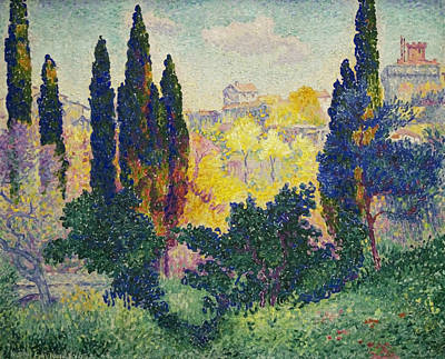 Divisionist Painting - The Cypresses At Cagnes by Henri-Edmond Cross