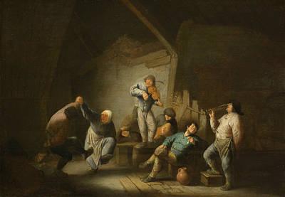 The Dancing Couple Art Print by Adriaen van Ostade