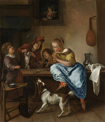 Puppy Painting - The Dancing Lesson by Jan Steen