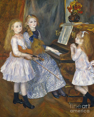 The Music Lesson Painting - The Daughters Of Catulle Mendes At The Piano, 1888 by Pierre Auguste Renoir
