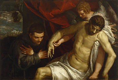 Wept Painting - The Dead Christ Supported By An Angel And Adored By A Franciscan by Paolo Veronese