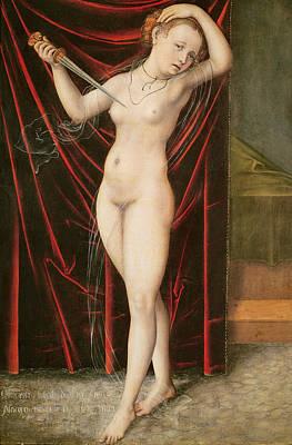 Suicide Painting - The Death Of Lucretia by Lucas the elder Cranach