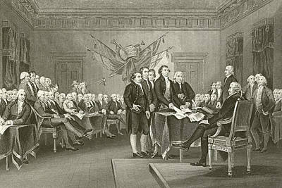The Declaration Of Independence Print by American School