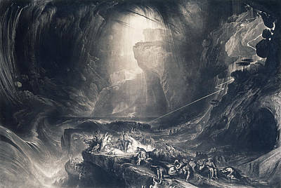 Rain Drawing - The Deluge by John Martin