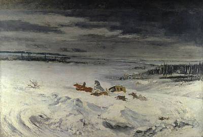 Frost Painting - The Diligence In The Snow by Gustave Courbet
