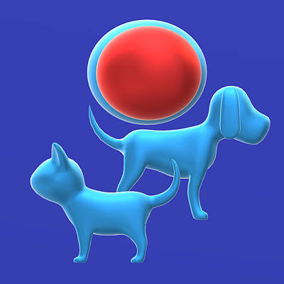 Cats And Dogs Digital Art - The Blue Cat And Dog Couple With A Mission by Pradyot Sahu