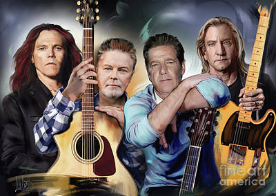 Band Mixed Media - The Eagles by Melanie D