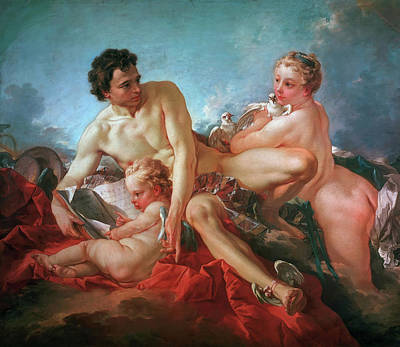 Nude Painting - The Education Of Cupid by Francois Boucher