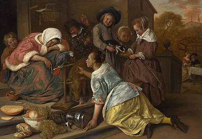 Parrot Painting - The Effects Of Intemperance by Jan Steen