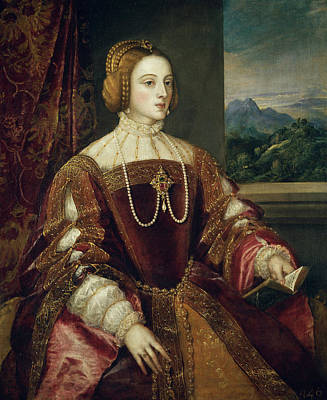 Interior Scene Painting - The Empress Isabel Of Portugal by Titian