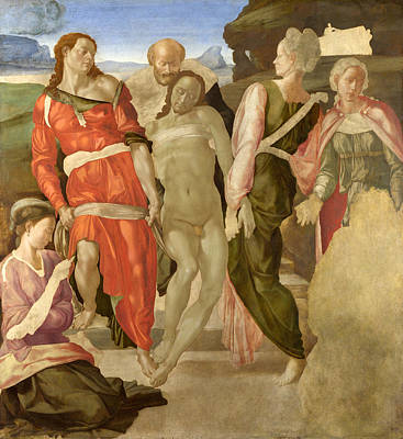 Exposed Painting - The Entombment by Michelangelo Buonarroti