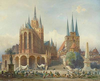Square Painting - The Erfurt Cathedral by MotionAge Designs