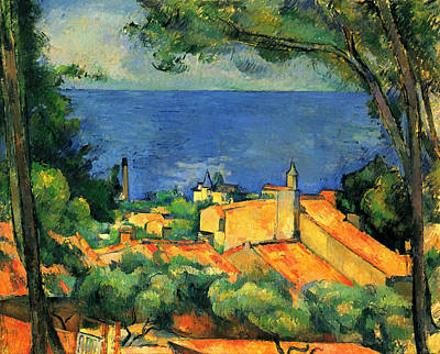 Outlook Painting - The Estaque With Red Roofs by Paul Cezanne