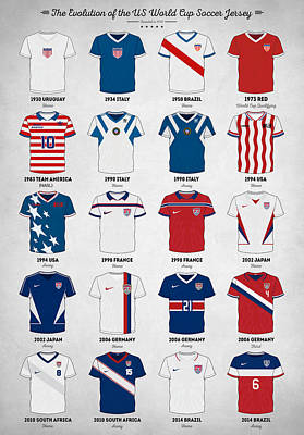 Soccer Digital Art - The Evolution Of The Us World Cup Soccer Jersey by Taylan Apukovska