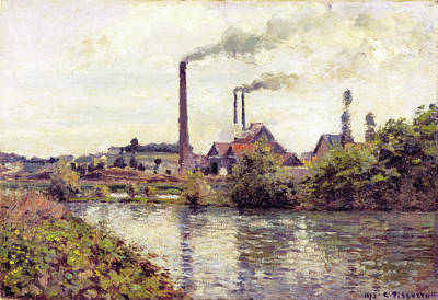 French Painting - The Factory At Pontoise by Camille Pissarro