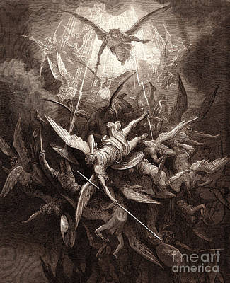 Angel Drawing - The Fall Of The Rebel Angels by Gustave Dore