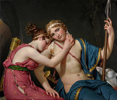 David Painting - The Farewell Of Telemachus And Eucharis by Jacques-Louis David