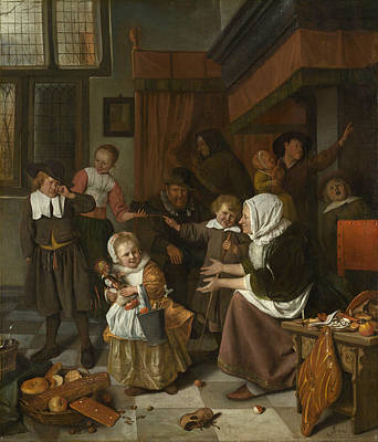 Group Painting - The Feast Of St. Nicholas by Jan Steen