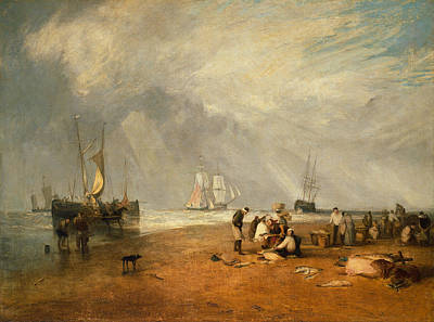 Joseph Mallord William Turner Painting - The Fish Market At Hastings Beach by JMW Turner