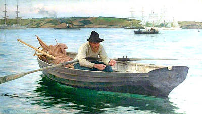 Print featuring the painting The Fisherman by Henry Scott Tuke