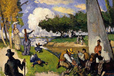 Nature Scene Painting - The Fishermen   Fantastic Scene by Paul Cezanne