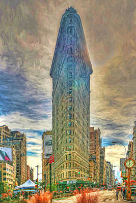 The Flatiron Building - Photopainting Art Print by Allen Beatty