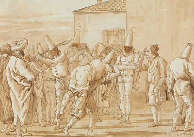 Drawing - The Flogging Of Punchinello by Giovanni Domenico Tiepolo