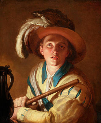 Abraham Painting - The Flute Player  by Abraham Bloemaert