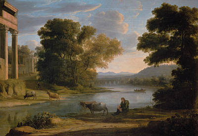 Agriculture Painting - The Ford by Claude Lorrain