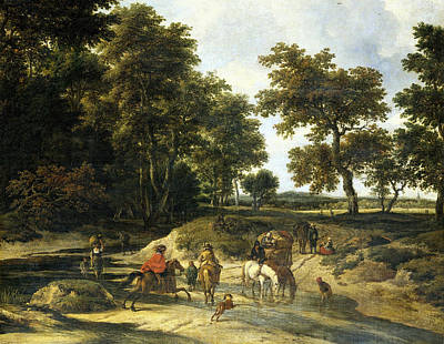 Roadway Painting - The Ford by Jacob van Ruisdael