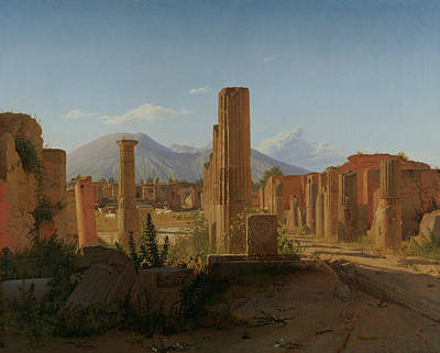The Forum At Pompeii With Vesuvius In The Background Art Print by Christen Kobke