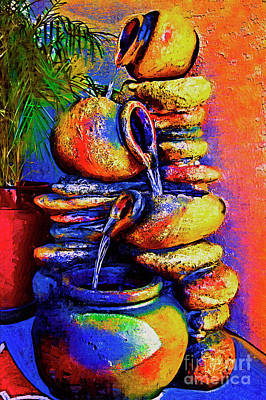 Digital Art - The Fountain Of Pots by Kirt Tisdale