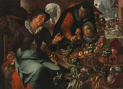 Fruits And Vegetables Painting - The Fruit And Vegetable Seller by Joachim Wtewael