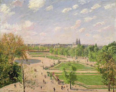 Streetscape Painting - The Garden Of The Tuileries On A Spring Morning by Camille Pissarro