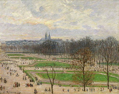 Streetscape Painting - The Garden Of The Tuileries On A Winter Afternoon by Camille Pissarro