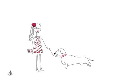 The Girl And The Dog Original by Ani Khachatryan