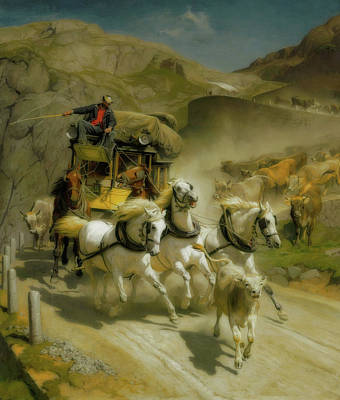 Whipping Wall Art - Painting - The Gotthard Post by Rudolf Koller