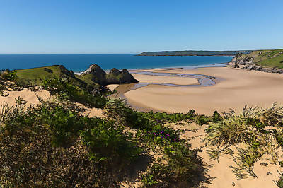The Gower Digital Art - The Gower Coast Three Cliffs Bay Wales Uk Beautiful Holiday Destination Illustration by Michael Charles
